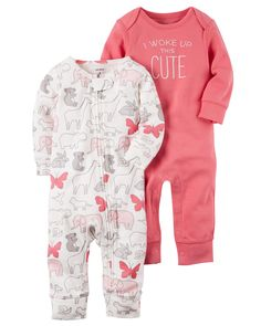 Baby Girl 2-Pack Babysoft Coveralls from Carters.com. Shop clothing & accessories from a trusted name in kids, toddlers, and baby clothes.