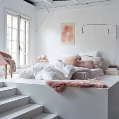 Modern Bedroom. Pink, grey and white | Pink Decor