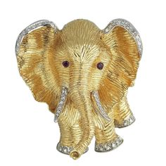 Ruby Diamond Gold Platinum Elephant Brooch | From a unique collection of vintage brooches at https://www.1stdibs.com/jewelry/brooches/brooches/