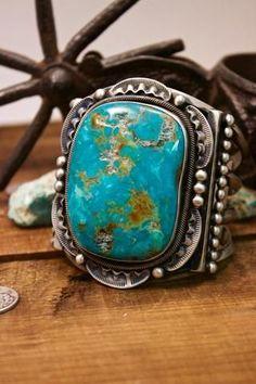 Nelvin Burbank Pilot Mountain Turquoise Stamped Bracelet Sterling Silver Native American Handmade