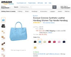 "Ecosusi Concise Synthetic Leather Handbag Women Top Handle Handbag.  Look high class without paying a ""high class"" price! This mid-size, synthetic leather handbag is designed with a contrast white stitching outter and has easy to grab handles. The inside is multi partitioned - with 2 side slots with magnetic closures and 1 center slot with a zipper closure for more security."