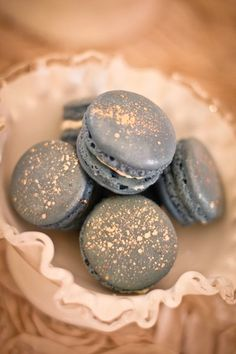 Macarons with golden glitter