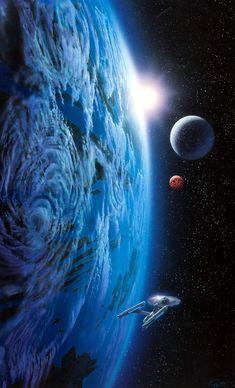 The Science Fiction Gallery — Greg Bridges - Star Trek - New Earth Belle Terre,. Star Trek Wallpaper, Storm Wallpaper, Vaisseau Star Trek, Star Trek Posters, Star Trek Images, Spaceship Art, Star Trek Starships, Star Trek Ships, Star Trek Universe