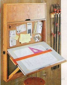 Fold-Down Drafting Table Plans - Workshop Solutions Plans, Tips and Tricks | WoodArchivist.com