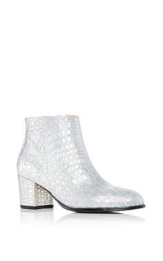 Ana Bootie In Silver Crocodile Embossed Calf Leather by CARMELINAS for Preorder on Moda Operandi