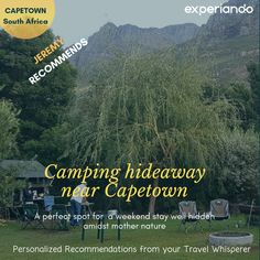 Follow Jeremy to this camping weekend experience in  the Dwarsberg Trout Hideaway! For more similar recommendations, be sure to check out www.experiando.io. Cape Town, Trout, Mother Nature, Traveling By Yourself, Camping, Mountains, Check, Campsite, Brown Trout