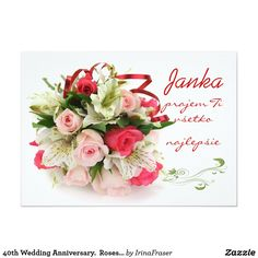 Beautiful bouquet of pink red roses and white lilies. Great for occasion - wedding, anniversary, birthday party. Easy to personalise - change font, colour, size and add your own text. 40th Wedding Anniversary, Marriage Anniversary, Anniversary Gifts, Wedding Color Schemes, Wedding Colors, Faire Part Photo, Carton Invitation, Rose Lily, White Lilies
