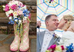romantische Hochzeit planen Gummistiefel Blumentöpfe