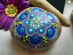 Hand Painted Rock Art ~ Blue Green Dot art ~ Mandala Stone ~ Original Artwork by Miranda Pitrone by on Etsy Dot Art Painting, Mandala Painting, Mandala Art, Stone Painting, Mandala Painted Rocks, Mandala Rocks, Hand Painted Rocks, Painted Stones, Water Based Acrylic Paint