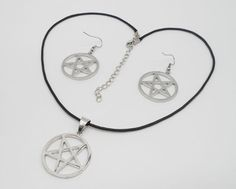 Silver  Cicle Inverse Pentagram Pendant  Necklace Earrings Jewerly Set