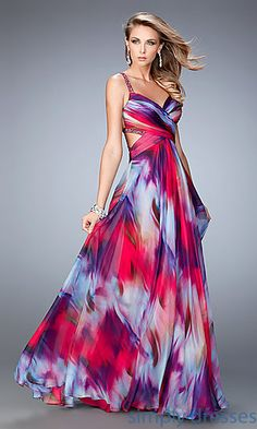 Shop multi color print beaded La Femme formal floor length gowns at SimplyDresses. Backless long prom dresses for military ball or parties.