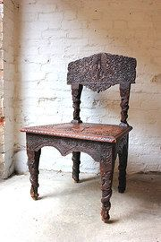 Fine 19thC Anglo-Indian Carved Rosewood Side Chair