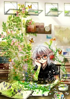 ✮ ANIME ART ✮ artist. . .drawing. . .sketchbook. . .pencil. . .paints. . .paint brush. . .art coming to life. . .vines. . .leaves. . .butterflies. . .nature. . .fantasy. . .cute. . .kawaii