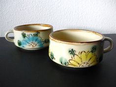 Vintage Housewares 70s Soup Cups Floral Set of by Freshandswanky, $13.00