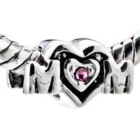 Heart Shape With Rose October Birthstone Swarovski Crystal 925 Sterling Silver Love European Beads