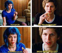 One of my favorite Scott Pilgrim joked! bread makes you fat?!?