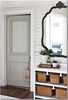Old door with frosted glass used for bathroom - good for half bath downstairs