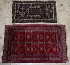 Lot 303: Persian Rugs; Two rugs including a geometric area rug with maroon ground and a small prayer rug with stylized birds in the corners
