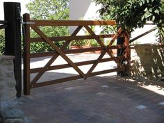Black Post And Rail Wood Automated Driveway Gate Any Way