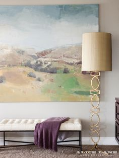 The large loosely painted landscape by Chelsea James. We love what it gives to the room – color, life, tranquility. It inspired us to use more purple in the accents of the room. Valley View Home | Alice Lane Home Collection