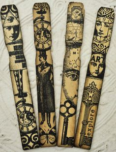 STEAMPUNK WOOD ACCENTS bookmarks original altered art assemblage face keys collage mixed media
