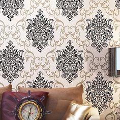 Euorpe Flock não tecido Wallcovering Luxo DAMASCO Wallpaper 3D Waterproof Sala Papel de Parede Rolo Decor Roxo Preto US $54.99