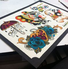 Traditional Tattoo Flash Sheet por TheasTattooShop en Etsy, $15.00