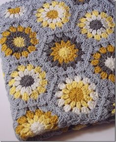Yellow & Gray Hexagon Blanket