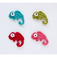 Chameleon  Applique Crochet. These are so cute! Must learn to crochet the basics soon