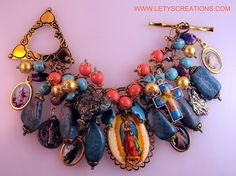 Catholic OL Guadalupe Cameo, Saints, Religious Medals Bracelet www.letyscreations.com