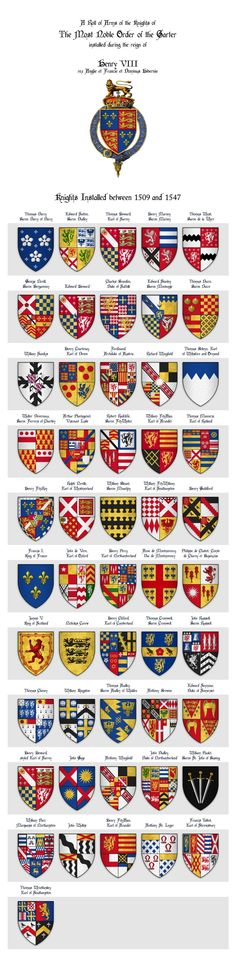 KING HENRY VIII - Roll of arms of the Knights of the Garter installed during his reign Art Print