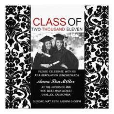 black and white damask graduation  | ... graduation announcement invitations in black and white damask with red