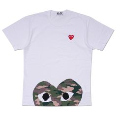 Play T-Shirt with Camo Bottom Heart # #sleeve #t-shirt #white