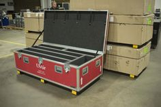 This Anvil ATA case has multiple foam lined compartments and 4 x 4 wood skids for easy forklift access.
