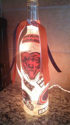 Handmade+Lighted+Wine+Bottle+w/+Chicago+BEARS+by+BottlesbyKaren