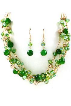 Gargantilla y aretes perlas y alambre