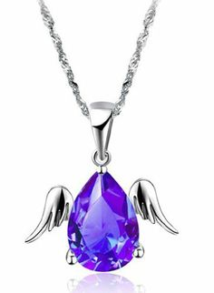 925 Platinum Sterling Silver, 18k White Gold Plated Fashion Shiny Temptation Angel Wing Rhinestone Briliant Cute Purple Crystal Diamond Pendants Charm Chain Necklace Katgi Jewelry. $17.95. Platinum 925 Sterling Silver. Beautiful and Elegant Rhinestone Big Purple Diamond Crystal with Shiny Angle Wings. Beautiful and elegant. Perfect gift for any occasion. 18k White Gold Plated. Glossy Silver, Shiny Angel Wing