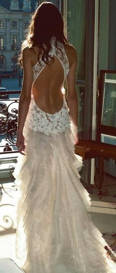 white backless gown