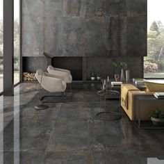 Ivy Hill Tile 4 in. x 8 in. Voyager Metal Look Dark Gray Polished Porcelain Field Tile Sample-EXT3RD103680 - The Home Depot Polished Porcelain Tiles, Polished Concrete, Gray Polish, Look Dark, Grey Tiles, Commercial Flooring, Concrete Floors, Outdoor Walls, Look Fashion