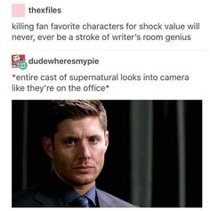 Alisha Barnes was a bridge too far (see: Fred Weasley). The Supernatural writers room is dead to me. Sincerely, A Twin Spn Memes, Supernatural Memes, Dead To Me, Destiel, Johnlock, Super Natural, Superwholock, Best Shows Ever, Fangirl