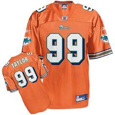 Reebok Miami Dolphins Jason Taylor 99 Orange Authentic Jerseys Sale