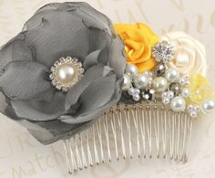 Fascinator in Yellow, Silver and Grey with Chiffon, Satin, Pearls and Jewels $105.00