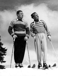 "Fair Isle / Shetland Islands:  In 1921, the Prince of Wales was captured sporting a Fair Isle knitted tank top. Who knew that he would be responsible for some horrendous knitting pattern covers. Did you spot the ""Adi"" Dassler (Adidas) logo on the tracksuit bottoms? Old school. Image: Check out more fab vintage skiing photos at theinvisibleagent.wordpress.com."