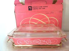 Vintage Pyrex Pink Scroll 575-B  2 Qt Space Saver Dish & Cradle W/Box & Pamphlet #Pyrex