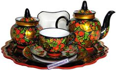 onekingscourt.com archive | Russian porcelain hohloma decorated tea set    decorativepainters.org  Learn to paint with us! With our step by step pattern based designs, anyone can become a Master Decorative Artist.