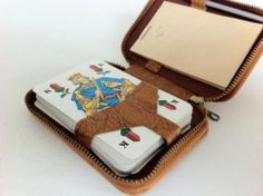 """German Antique Playing Cards with Original Leather Case""""Skat"""" Brand"""
