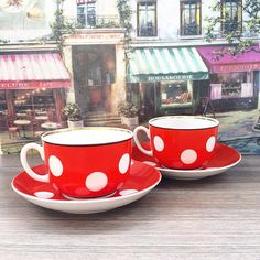 Set of 2 Soviet vintage tea&coffee cups with saucers - Soviet Porcelain - Retro Kitchen Decor - Pair of red cups