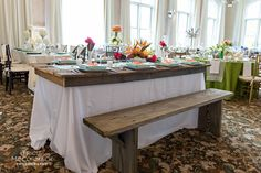 Our Farm Top Tables and Rustic Wooden Benches #classicaltents
