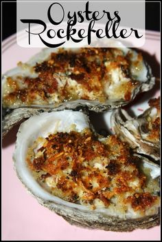 Gulf Coast Oysters Rockefeller: these Gulf Coast oysters are plump and juicy and by topping them with cream cheese, bacon, spinach, and Parmesan they are . Fish Dishes, Seafood Dishes, Fish And Seafood, Shellfish Recipes, Seafood Recipes, Yummy Appetizers, Appetizer Recipes, Sushi Recipes, Cooking Recipes