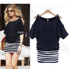 Elegant Women OL Stripe Short Sleeve Off Shoulder Slim Stitching Dress S-XXL